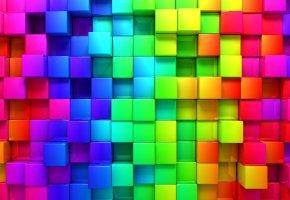 Обои рендеринг, кубики, фон, кубы, цвета