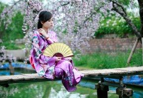 Обои веер, лето, девушка, азиатка, цветы