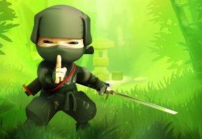 Обои воин тени, ниндзя, зелень, трава, Mini ninja, green
