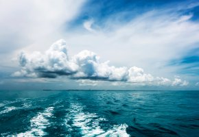 Обои Океан, вода, горизонт, волны, облака, тучи