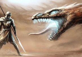 Обои дракон, воин, рыцарь, чешуя, пустыня, бой, сражение, клык