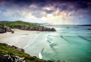 Обои Шотландия, пейзаж, побережье, берег, утес, пляж, песок, море, облака