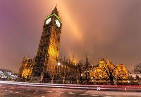 Обои Лондон, Англия, Биг Бен, огни, часы