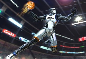 Обои баскетбол, робот, прыжок, мяч, огонь