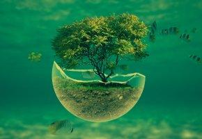 Обои фэнтези, работа, под водой, рыбки, фотошоп, аквариум, дерево