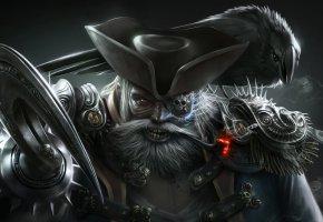 Обои пират, крюк, одноглазый, усы, шляпа, ворон