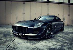 Обои Mercedes-Benz, SLS, Машина, Черный, Передок, Фары, Диски, Колеса