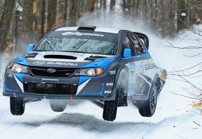 Обои Subaru, Impreza, Rally, Ралли, Машина, Занос, Зима, Снег, Передок, Лес