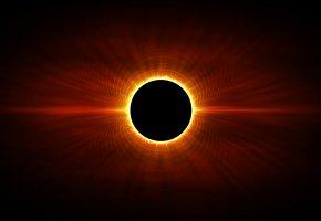 Обои затмение, черное солнце, лучи, свет