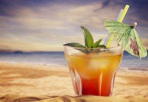 Обои пляж, коктейль, мята, зонтик