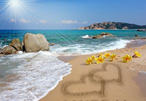 Обои i miss you, romantic, sand, message, plumeria, hearts, beach, love, sea, sunshine, design by Marika, пляж, песок, рисунок, сердце, любовь, романтика