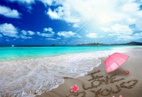 Обои i love you, romantic, umbrella, sand, message, hearts, beach, love, sea, design by Marika, пляж, песок, рисунок, сердце, любовь, романтика