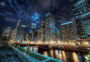 Обои нью-йорк, Америка, огни, дома, вечер, улица