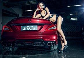 Обои азиатка, автомобиль, девушка