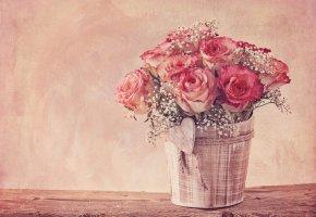 Обои цветы, розы, букет, бутоны, винтаж, гипсофила