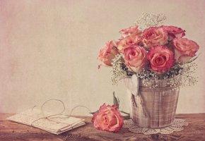 Обои цветы, розы, гипсофила, письма, винтаж, букет, бутоны