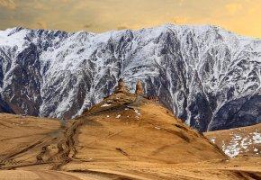 Обои горы, снег, пейзаж, холм, церковь, храм