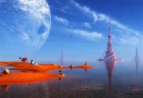 Обои рендер, пейзаж, фантастический мир, башни, девушка, транспорт, песок, существа, птицы, планета, вода