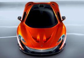 Обои McLaren, P1, Авто, Машина, Оранжевый, Вид сверху, Капот, Автомобиль, Суперк ...