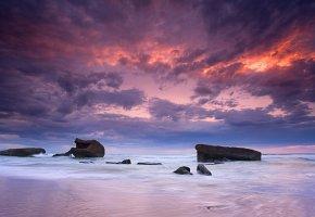 Обои облака, закат, море, небо, камни, камень