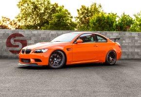 Обои бмв, bmw, m3, оранжевый, orange