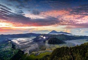 Обои панорамма, Индонезия, горы, облака, Ява, вулкан Бромо