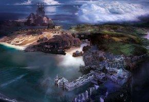 Обои Остров, постройки, вид сверху, замок, мост, тучи