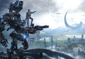 Обои Titanfall: Frontier\'s Edge, Робот, Солдат, Титан, Пилот, Здания, Оружия, Охотник, Экипировка