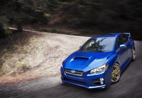 Обои Subaru, WRX, STI, Авто, Машина, Синий, Поворот, Передок, Капот, В Движении