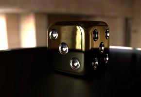 Обои 3d, кубик, макро, цифры, золото