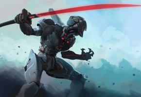 Обои robot, робот, киборг, воин, меч