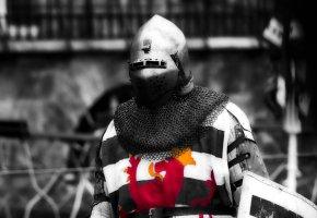Обои рыцарь, кольчуга, шлем, воин, доспехи