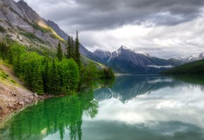 Обои небо, облака, горы, озеро