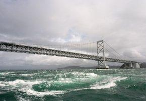Обои море, мост, небо, тучи, вода, волны