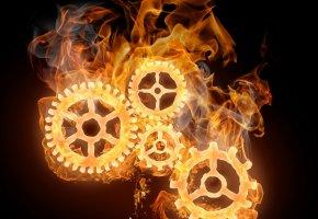 Обои шестеренки, огонь, пламя, механизм