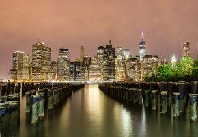 Обои Manhattan, дома, ночные огни, здания, причал