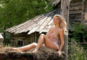 Обои взгляд, девушка, блондинка, ранчо, село, сено