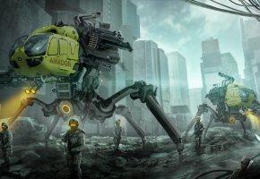 Обои город, солдаты, разрушение, фантастика