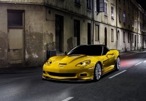 Обои Chevrolet, Corvette, ZR1, Корвет, Шевроле, Yellow, Car, Night