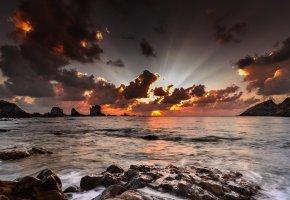 Обои рассвет, небо, облака, океан, тучи