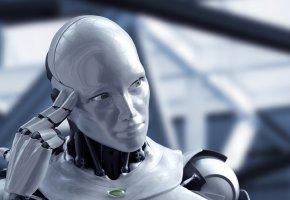 Обои робот, hi-tech, рука, голова