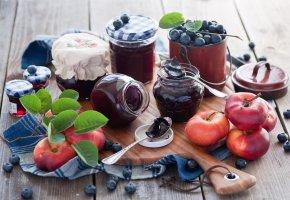 Обои джем, персики, голубика, ягоды, баночки