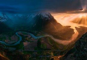 Обои Норвегия, лето, долина, горы, свет, солнце, небо