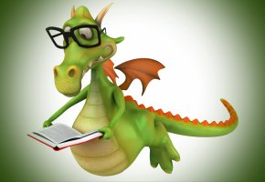 Обои дракончик, крылья, очки, книга, чтение