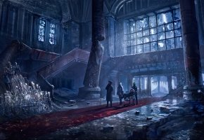 Обои холл, отель, колонны, romantic apocalyptic, art