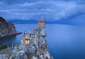 Обои замок, ласточкино гнездо, крым, скала, берег, море