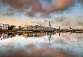 Обои Санкт-Петербург, набережная, весна, вода, дома