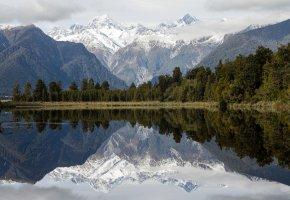 Обои New Zealand, горы, озеро, отражение, Новая Зеландия