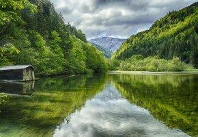 Обои озеро, Австрия, вода, прозрачная, избушка, лес