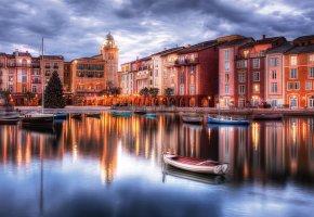 Обои канал, Венеция, Италия, лодки, дома, огни
